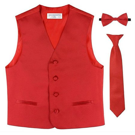 Boys Red Vest Bow-tie Tie Special Occasion 3 Pcs Set - Red Vest And Bow Tie