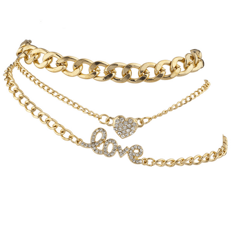 Ring Ankle Bracelet - Lux Accessories Goldtone Love Heart Curb Chain Anklet Ankle Bracelet Set 3PCS