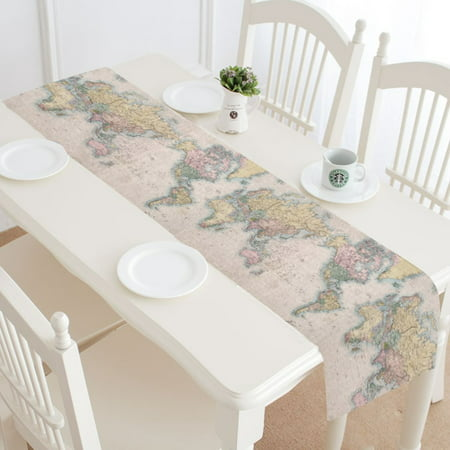 MKHERT Old Stained World Map Table Runner Home Decor for Kitchen Dining Wedding Party 16x72 Inch