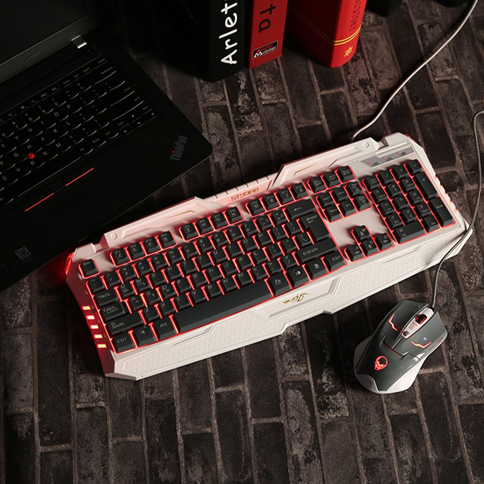 white+gray Backlit Keyboard Ergonomic USB Wired Gamer LED Gaming Keyboard Quality
