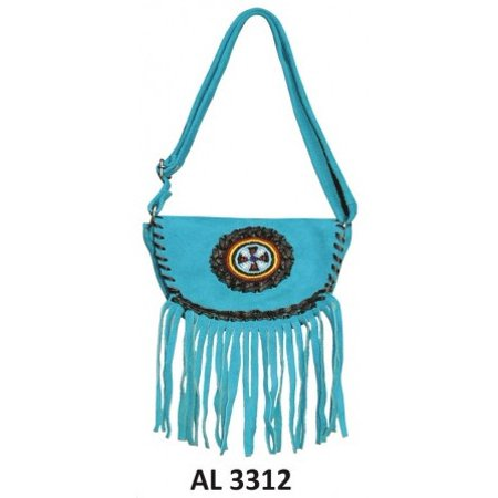 Ladies Fashion Motorcycle Heavy Duty Western Style Blue Suede Cowhide Leather Handbag With Beads & -