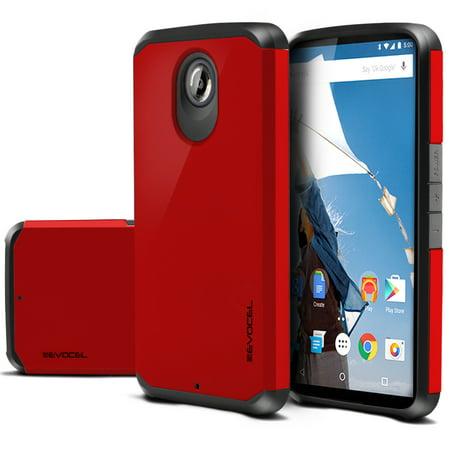 Nexus 6 Case, Evocel [Lightweight] [Slim Profile] [Dual Layer] [Smooth Finish] [Raised Lip] Armure Series Phone Case for Motorola Nexus 6 (2014 Release), Fire Engine