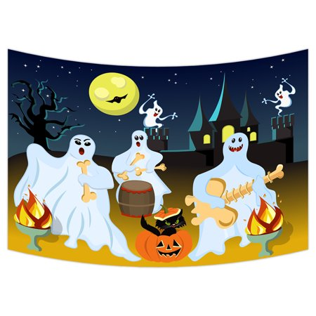 Halloween Fantasy Art (YKCG Halloween Party Fantasy Ghost Moon Wall Hanging Tapestry Wall Art 90x60)