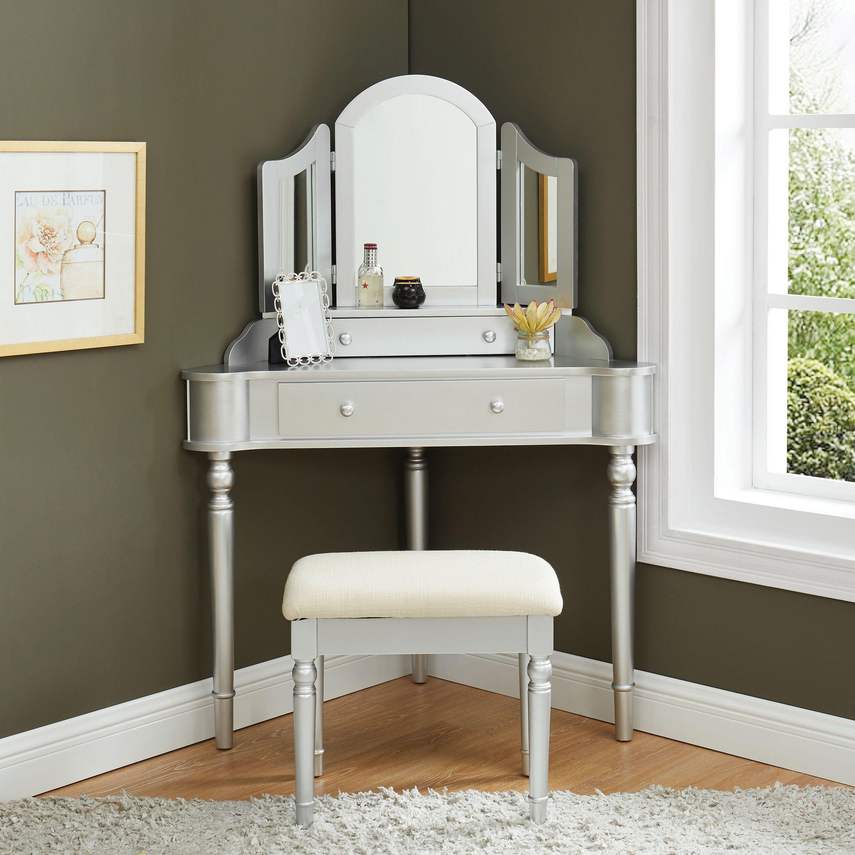 Furniture of America Cristal 3-Piece Corner Vanity Set ...