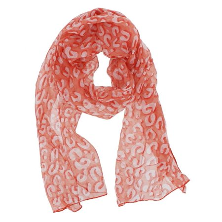 Oolong Orange Blossom (Leopard Print Oblong Scarf in Orange Red)