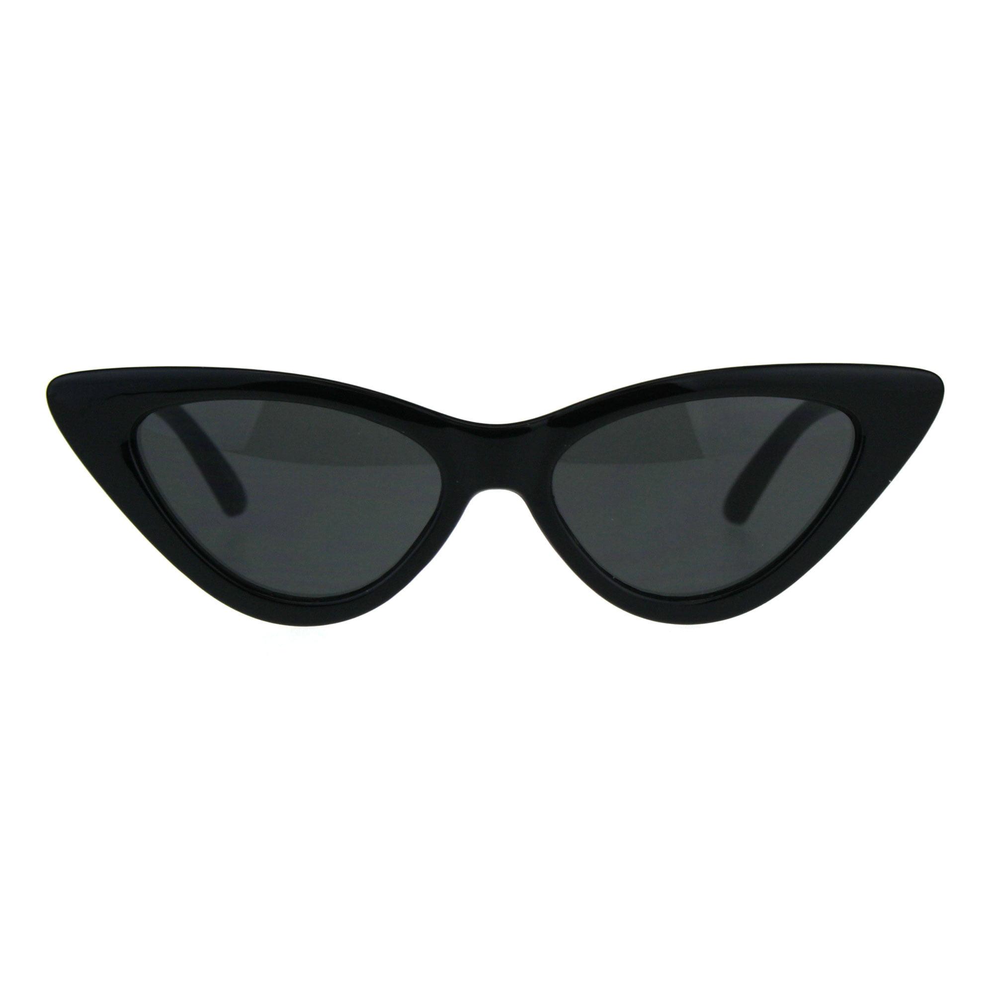 9c326fdb3f174 SA106 - Womens Classic Narrow Cat Eye Gothic Plastic Sunglasses All Black -  Walmart.com