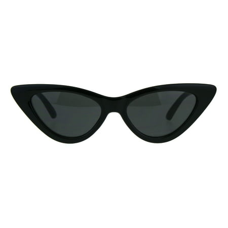 Womens Classic Narrow Cat Eye Gothic Plastic Sunglasses All Black