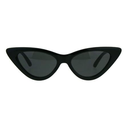 Womens Classic Narrow Cat Eye Gothic Plastic Sunglasses All Black