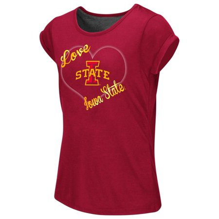 Iowa State Cyclones Girls Tee Heathered Split Back - Iowa Cyclones