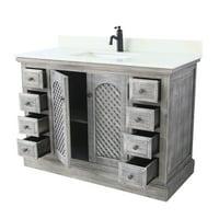 Infurniture  Grey/White Wood/Marble/Ceramic 48-inch Rustic Bathroom Vanity