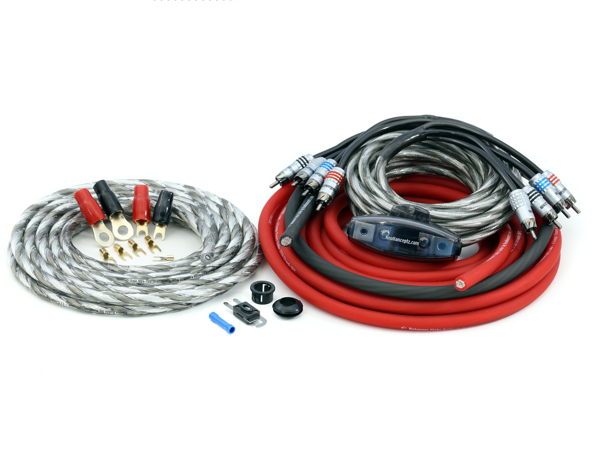 KnuKonceptz Kolossus Flex Complete 4 Gauge 4 Channel OFC Amplifier ...