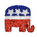Expo Int'l Republican GOP Elephant Sequin Applique