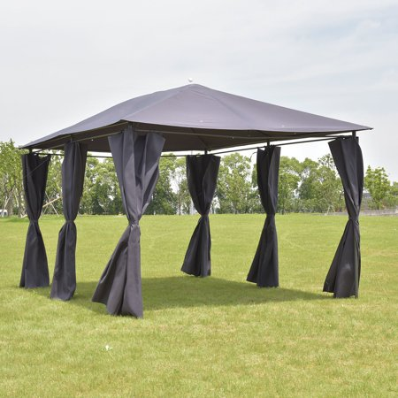Outdoor 10'x13' Gazebo Canopy Tent Shelter Awning Steel Frame W/Walls Gray