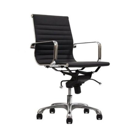 Manhattan Comfort Delancey Mid Back Adjustable Office Chair In Black Set Of