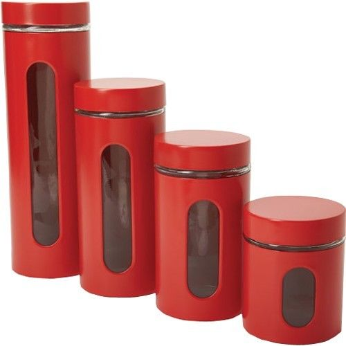 Bon Anchor Hocking 4 Piece Palladian Canister Set With Window, Cherry