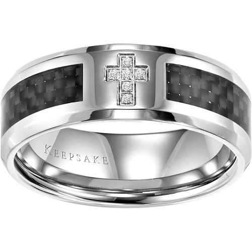 Keepsake Men's Jonas Diamond Accent Stainless Steel Wedding Band, 8mm