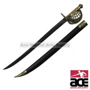 "30"" Mermaid Pirate Cutlass Sword with Basket Guard & Sheath Brand New"