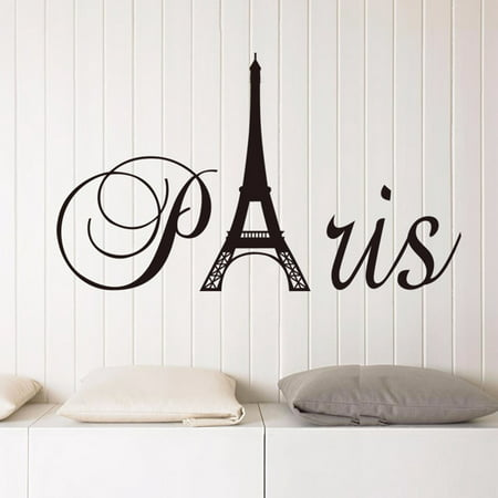 Round Decal Vinyl Sticker (Removable France Paris Eiffel Tower Wall Sticker PVC Vinyl Decal Mural Home)