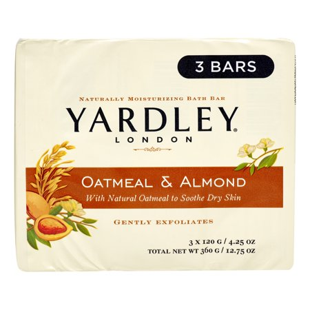 (4 pack) Yardley London Oatmeal & Almond Naturally Moisturizing Bath Bars, 4.25 oz, 3 count