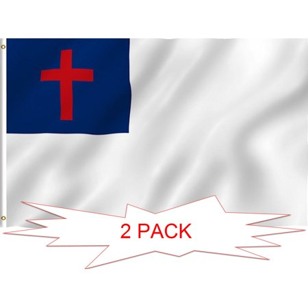 G128 TWO PACK of Christian Flag Christian Cross Religious Church Flag Christianity Banner Church Pennant 3x5ft Printed Quality Polyester with Brass Grommets Double Stitched