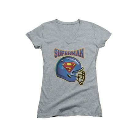 Superman DC Comics Football Helmet Junior V-Neck T-Shirt Tee ()
