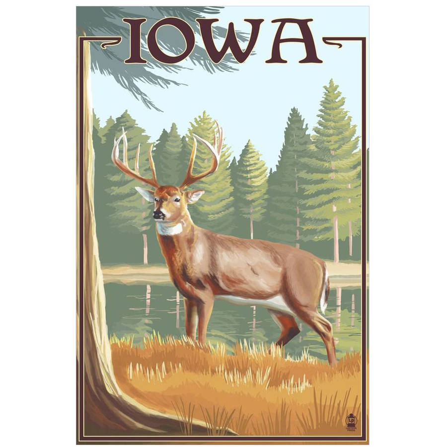 White Tailed Deer - Iowa: Retro Travel Poster by Eazl Cling