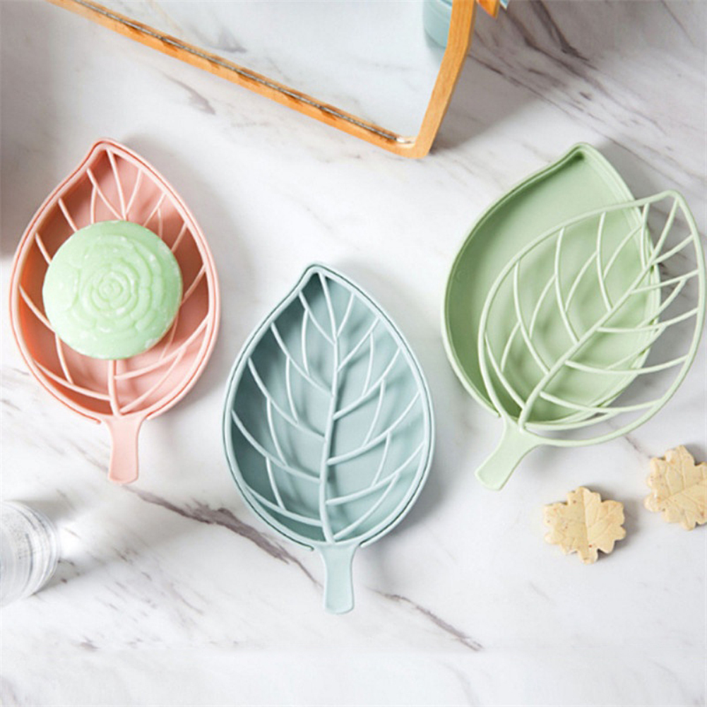 Girl12Queen Hollowed Leaf Soap Sponge Case Container Drain Dish Rack Bathroom Organizer