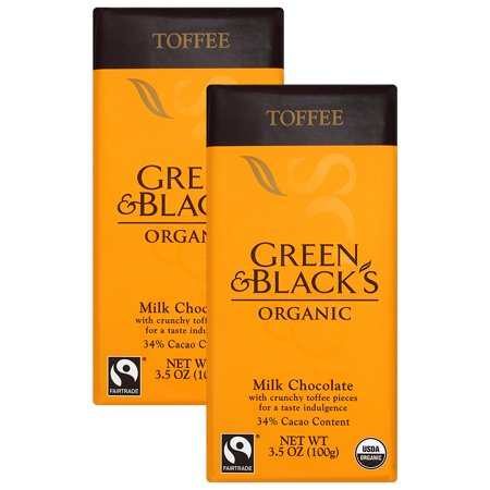 (4 Pack) Green Black Milk Chocolate Toffee 34% Cocoa 3.5 Oz