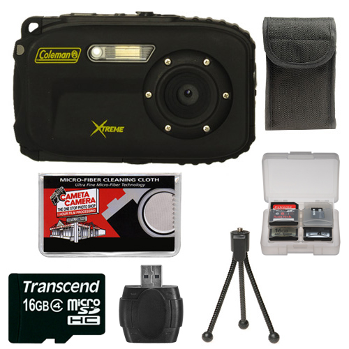 Coleman Xtreme C5WP Shock & Waterproof Digital Camera (Black) with 16GB Card   Case   Accessory Kit
