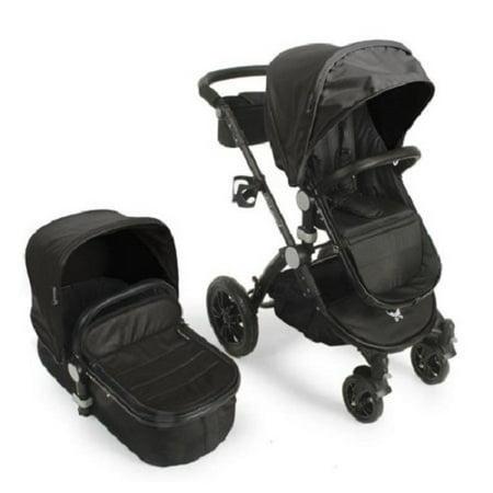 Babyroues letour avant luxe stroller w/bassinet black frame black leatherette