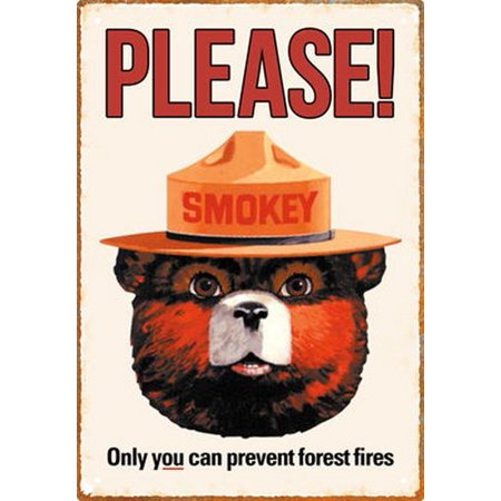 SMOKEY BEAR - VINTAGE ADVERTISING - 8 x 11.5 TIN SIGN ()