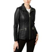Anne Klein Women's Black Leather Scuba Jacket (XS)