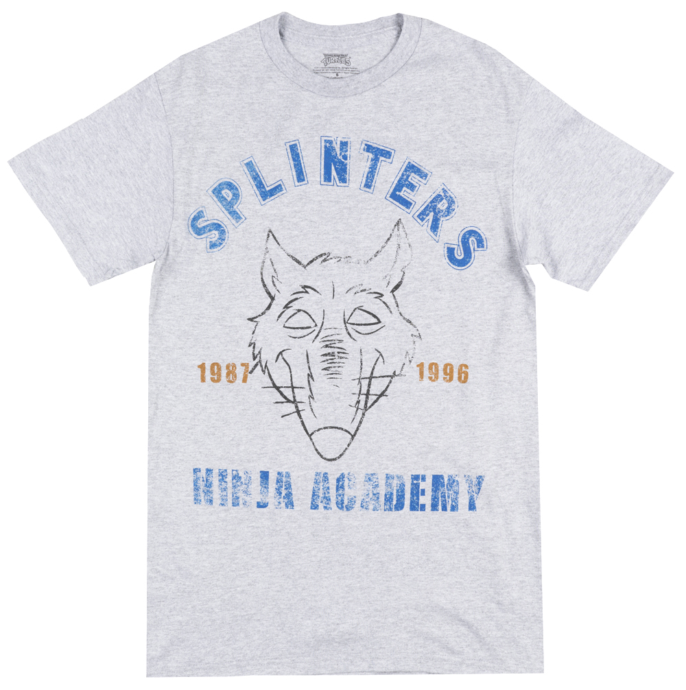 TMNT Splinters Ninja Academy Vintage T-Shirt Cartoon Movie Grey