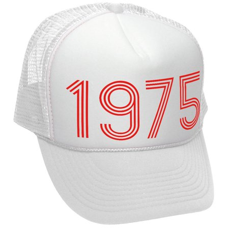 1975 - retro classic made in 70s font - Adult Trucker Cap Hat, White