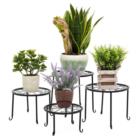 Hand Painted Plant Stand - Best Choice Products Decorative Nesting Plant Stand - Set of 4 - Black