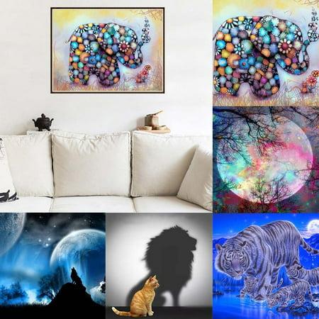 Visland 5D DIY Full Resin Diamond Painting Animal Moon Cross Stitch Home Office Decor - image 1 of 3