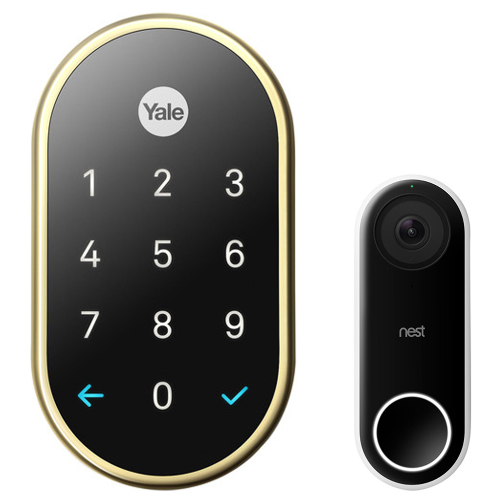 Nest (RB-YRD540-WV-605) x Yale Lock with Nest Connect, Polished Brass + Nest Hello Smart Wi-Fi Video Doorbell