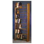 7 Row Dowel Media Rack (Honey Oak)