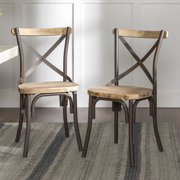 Walker Edison Rustic Reclaimed Solid Wood Dining Chairs, Set of 2