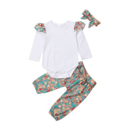 16ae7c5d4 Baby Girl Outfit Clothes Ruffles Long Sleeve Solid White Romper Bodysuits  Floral Pants 3PCS Outfit Set 0-24M - Walmart.com