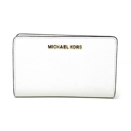 81030e264b00 Michael Kors Jet Set Travel Slim Bifold Saffinao Leather Wallet, Optic White