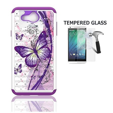 Alcatel Tetra Case, Phone Case for Alcatel Tetra (5041C), Studded Diamond  Bling Cover Case + Tempered Glass Screen Protector (White-purple butterfly)