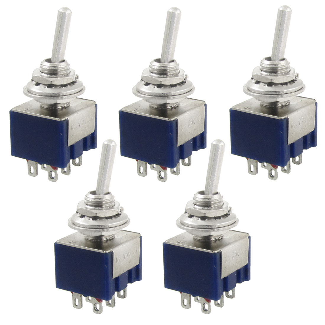 5 Pcs AC 125V 6A Amps ON/OFF/ON 3 Position DPDT Toggle Switch