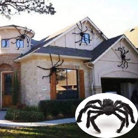 Outdoor Halloween Decoration Projects (Halloween Giant Spider Decorations, Large Fake Spider with Straps Hairy Backpack Spider Realistic Scary Prank Props for Indoor Outdoor Yard Party Halloween)