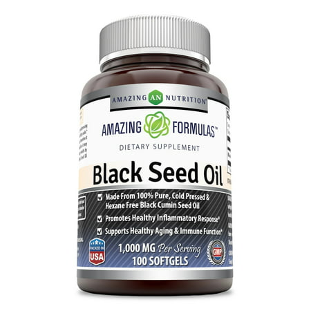 Amazing Formulas Black Seed Oil Natural Dietary Supplement - Cold Pressed Black Cumin Seed Oil from 100% Genuine Nigella Sativa - 1000 Mg 100 (Best Black Seed Oils)