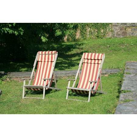 Laminated Poster Garden Sun Loungers Relax Nature Concerns Summer