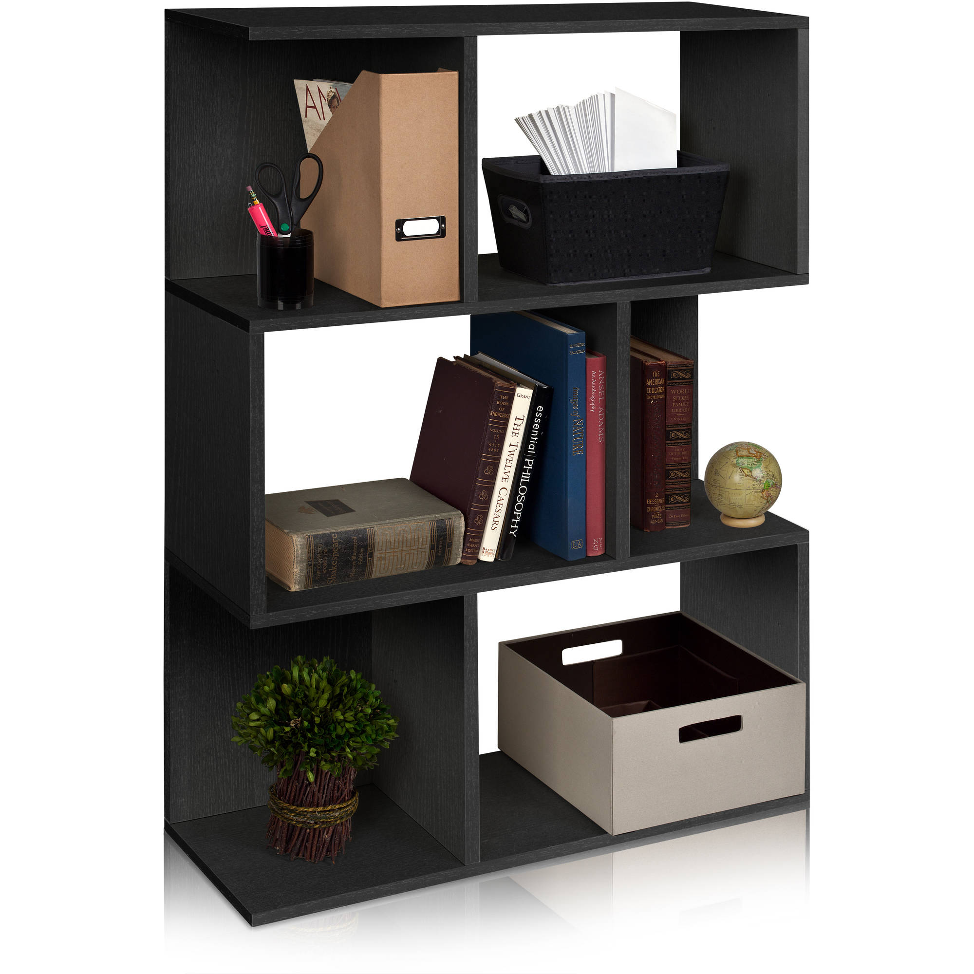 Way Basics Eco Madison Bookcase, Room Divider and Storage Shelf, Black