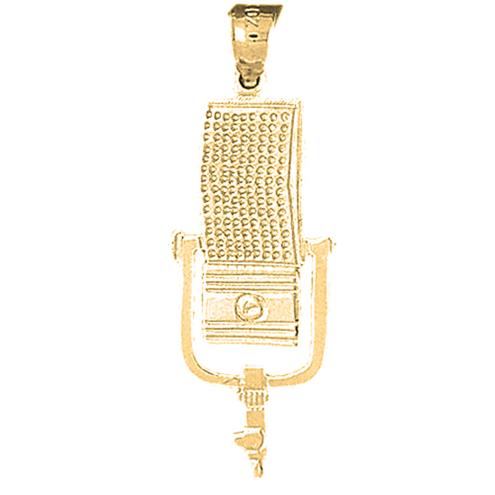 18K Yellow Gold Microphone Pendant - 36 mm