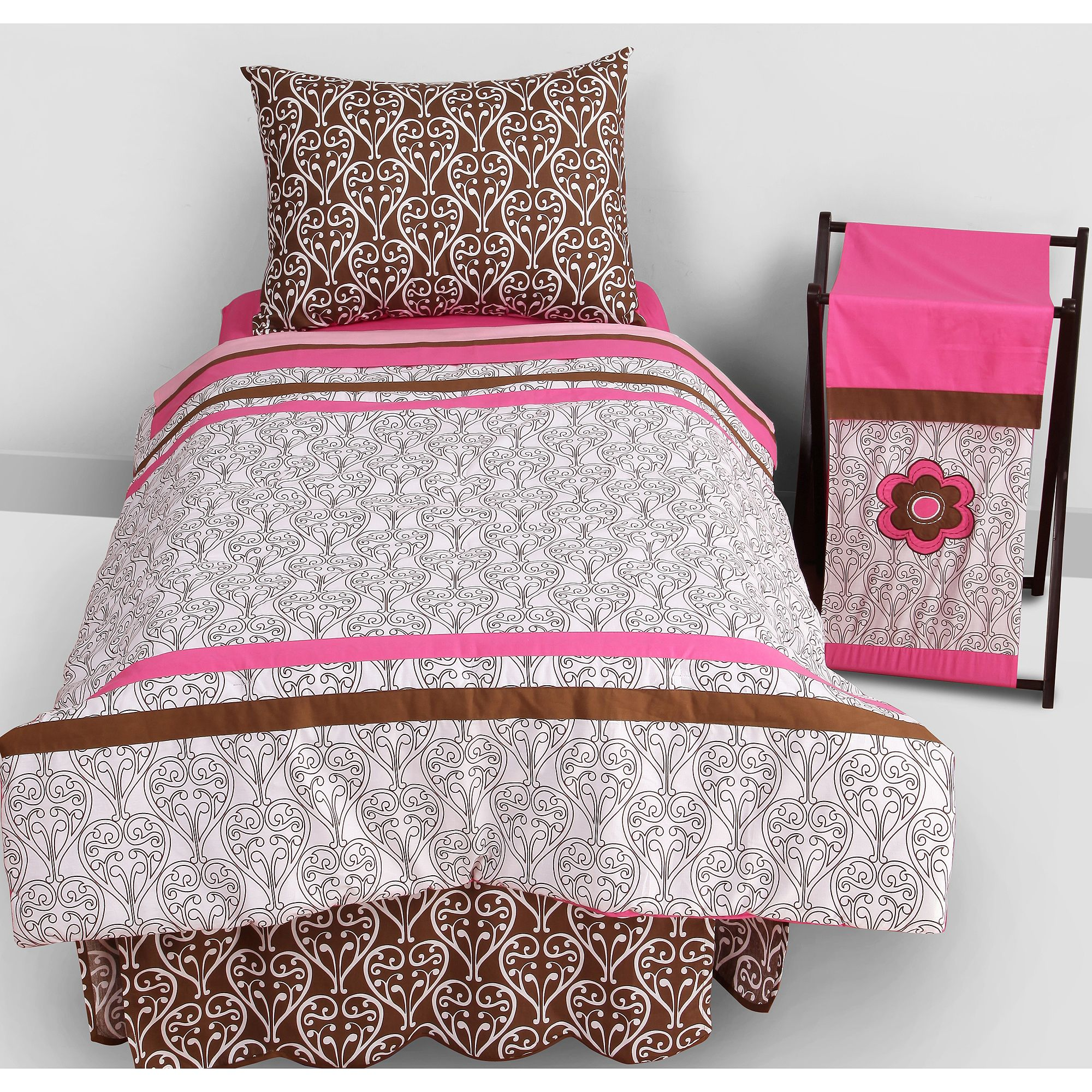 Bacati Damask 4pc Toddler Bedding set 100% Cotton percale,  Pk/Chocolate