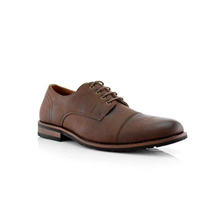 New Mens Cap Toe Casual Dress Lace Up Oxfords Shoes  Brown  10